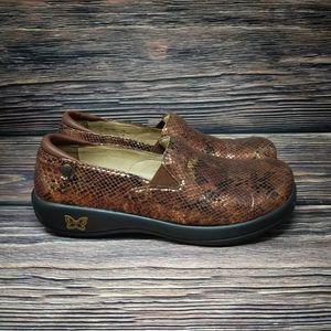 Womens Alegria By PG Brown Metallic Nurses Shoes